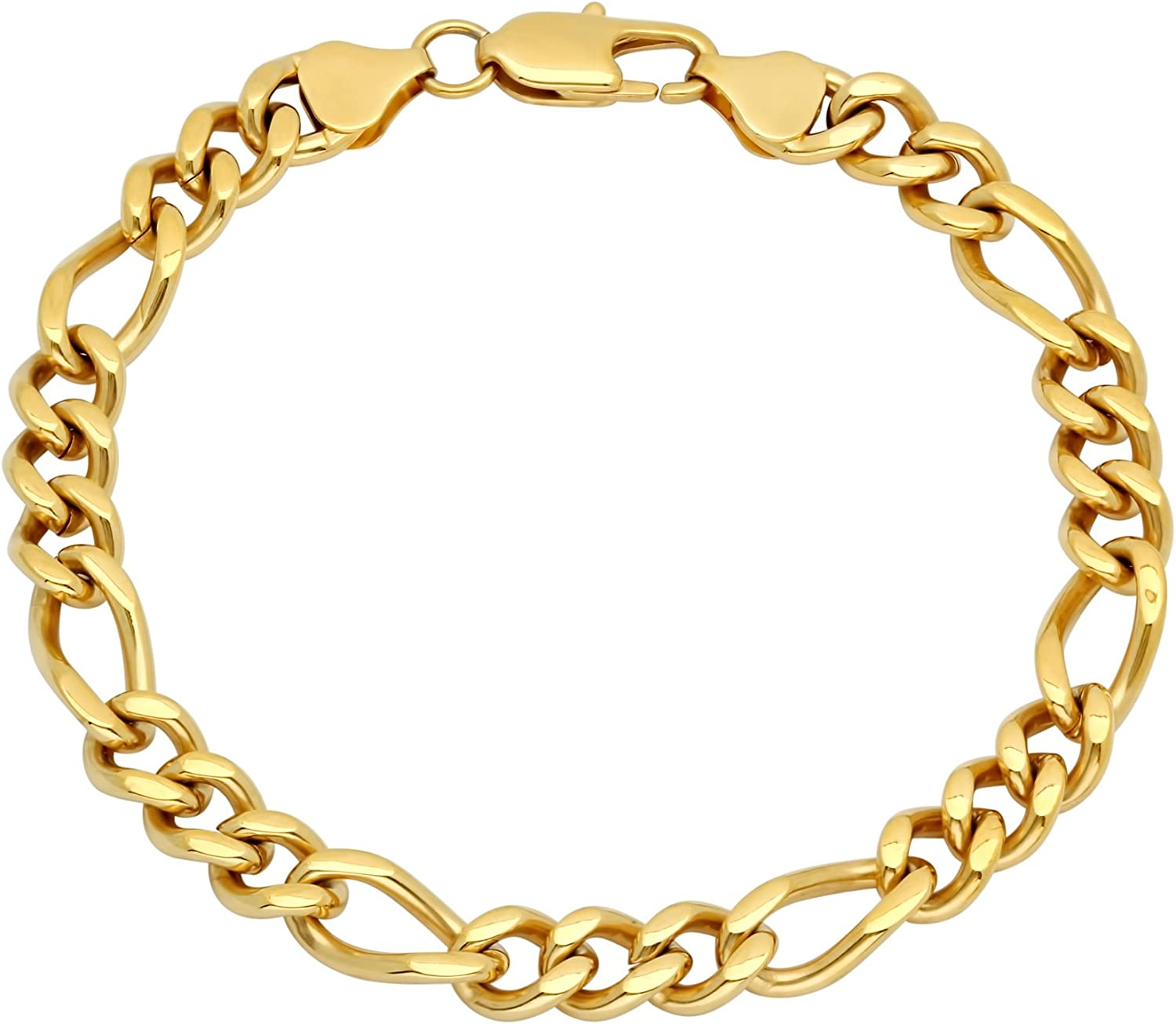 STEEL NATION JEWELRY Men's Gold-Tone Stainless Steel Figaro Bracelet, 9-inches