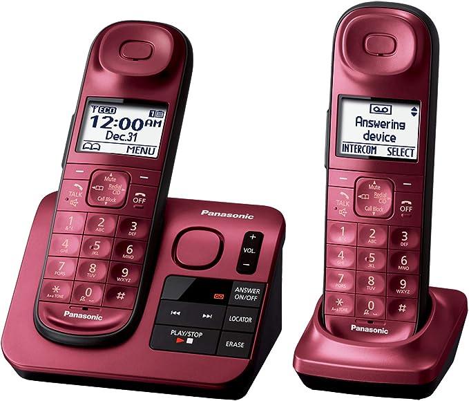 Panasonic kx-tgl432r teléfono inalámbrico DECT 6.0 W/sistema de contestador digital rojo nuevo: Amazon.es: Electrónica