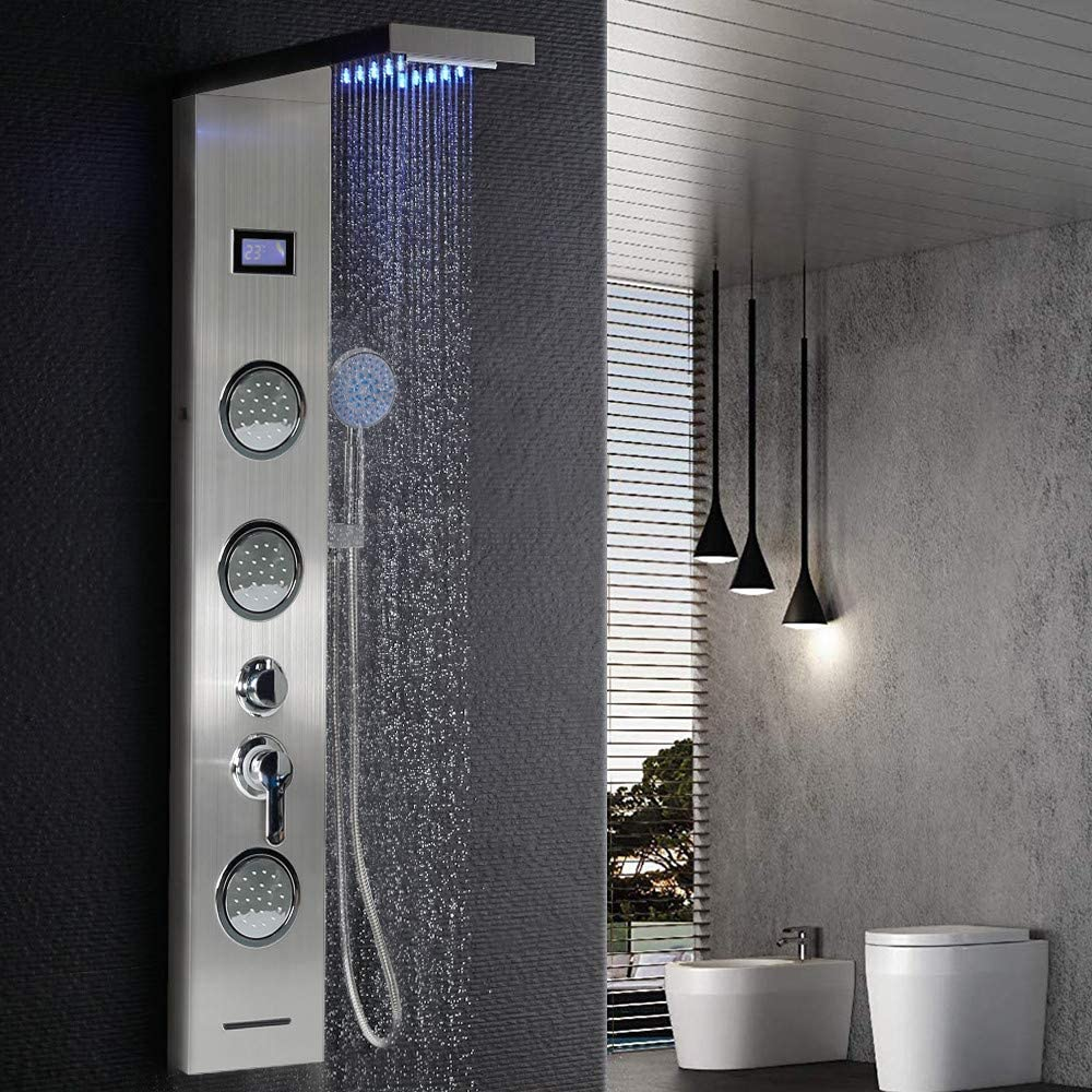Columna de Ducha,LED Azul + Pantalla LCD + Modos múltiples ...