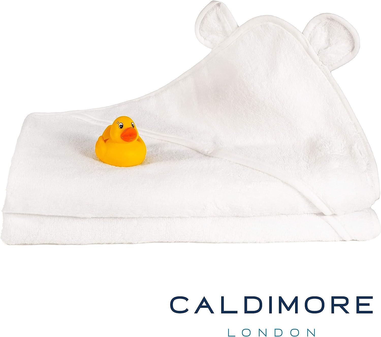 CALDIMORE 1x blanco Toalla de beb/é con capucha Premium 100/% algod/ón hilado en anillo