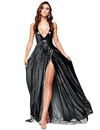 77a6e9844d0 2019 Sexy Prom Dresses for Women Split Side Empire Waist Sequins Party Gowns  Formal Spaghetti Strap