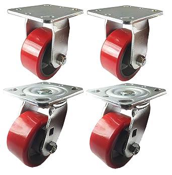 "4 Heavy Duty Caster Set 8/"" Polyurethane Wheels No Mark Rigid Swivel and Brake"
