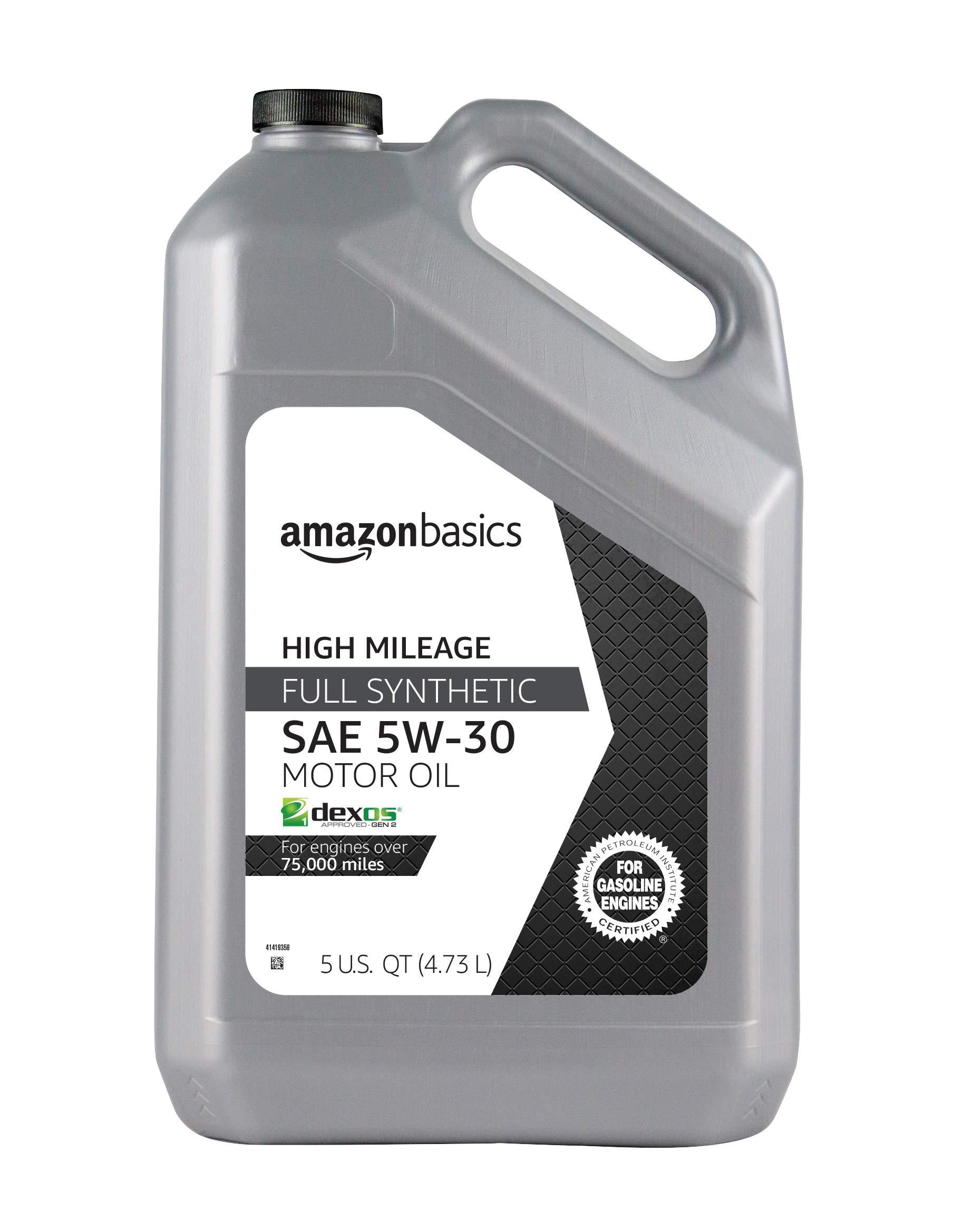 AmazonBasics High Mileage Motor Oil, Full Synthetic, SN Plus, dexos1-Gen2,  5W-30, 5 Quart