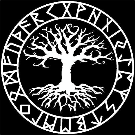 Samunshi Aufkleber Yggdrasil Mit Runen 3 Vikings Wikinger Für Auto Motorrad In 11 Größen Und 25 Farben 80x80cm Weiß Küche Haushalt