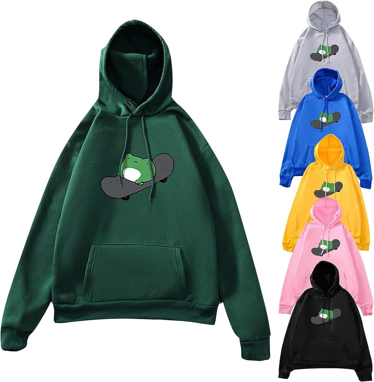 Teen Girls Top Frog skateboard Printed Hoodie Splicing Color Tunic Drawstring Full Sleeve Sweatshirt