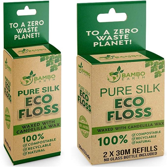 Bambo Earth Biodegradable Mint Dental Floss With Refillable & Reusable Glass Holder