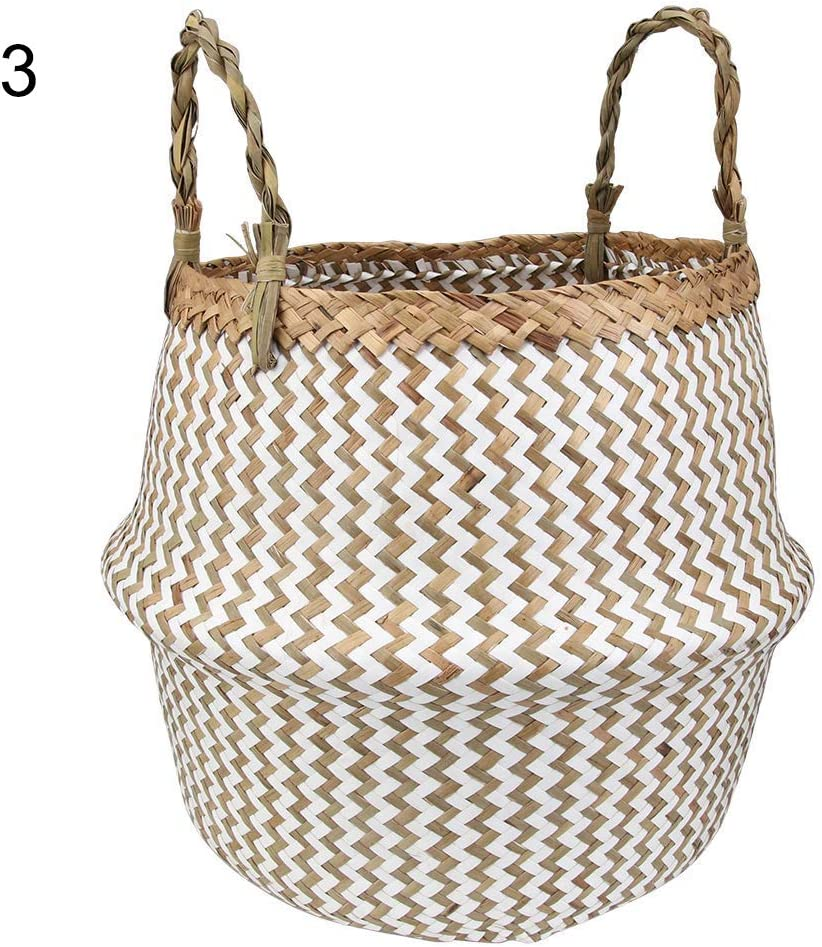 GwUzsfu Stylish Seagrass Woven Foldable Toy Clothes Plants Basket Home Storage Bucket 1# M