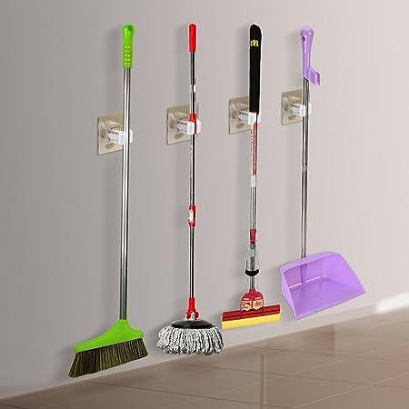 Escoba Fregona Escoba soporte, chunnuo Gripper sostiene firmemente antideslizante, hogar organización soluciones de almacenamiento para limpieza de herramientas Soporte (4 Pack): Amazon.es: Hogar