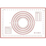 Silicone Baking Mat with Measurements Non-Slip Silicone Perfect for Rolling Dough 24'' x 16'' (red)