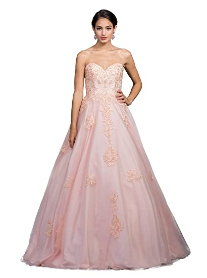 ad2cb30a129fb Dancing Queen 1204 Strapless Embellished Sweetheart Prom Ballgown in Blush