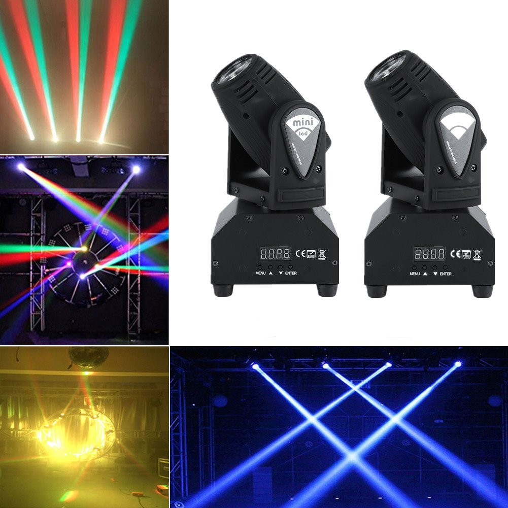 2pcs/set 50W LED RGBW Moving Head Stage Light DMX512 Disco DJ Party Effect Lights US Plug 110V
