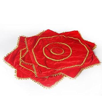 2 piezas de danza del pañuelo octogonal de la toalla roja de la flor del arte de la decoración WDSJ-01: Amazon.es: Deportes y aire libre