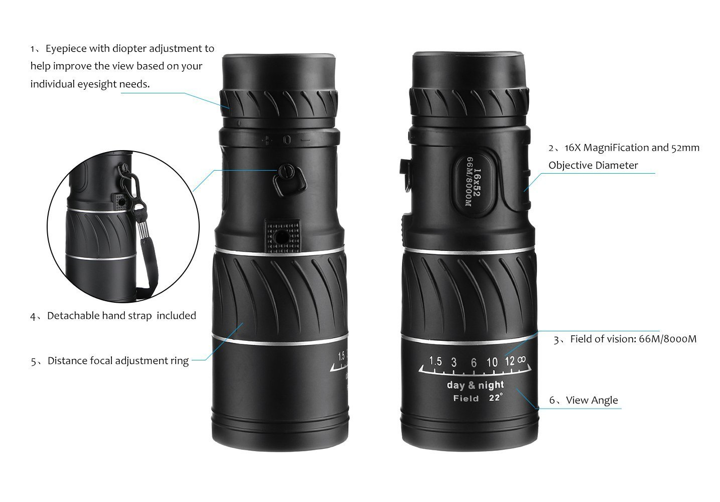 Archeer super clear 16x52 monocular telescope dual: amazon.de: kamera