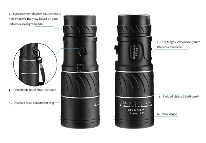 Archeer super clear monocular telescope dual amazon kamera