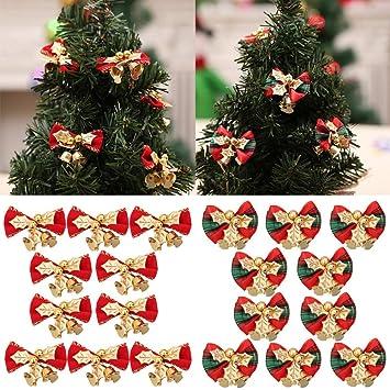 Dekoration Weihnachtsbaum.Frashing 10 Stück Deko Schleifen Mit Glocke Weihnachtsbaum