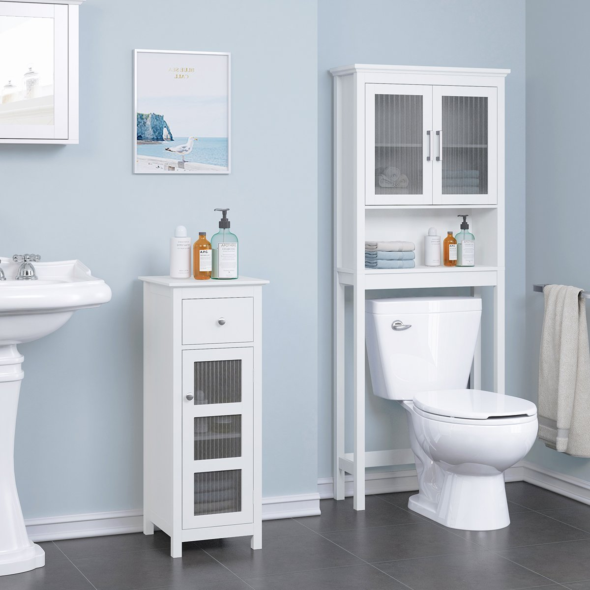 Amazon.com: SPIRICH Bathroom Storage Floor Cabinet, Bathroom Cabinet ...