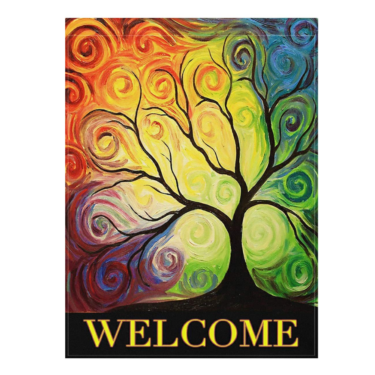 "ALAZA Colorful Rainbow Tree Branch Double Sided Garden Yard Flag 12"" x 18"", Abstract Tree Of Life Summer Spring Autumn Decorative Garden Flag Banner for Outdoor Home Decor Party"