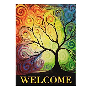 "ALAZA Colorful Rainbow Tree Branch Double Sided House Flag Garden Banner 28"" x 40"", Abstract Tree Of Life Summer Spring Autumn Garden Flags for Anniversary Yard Outdoor Decoration"