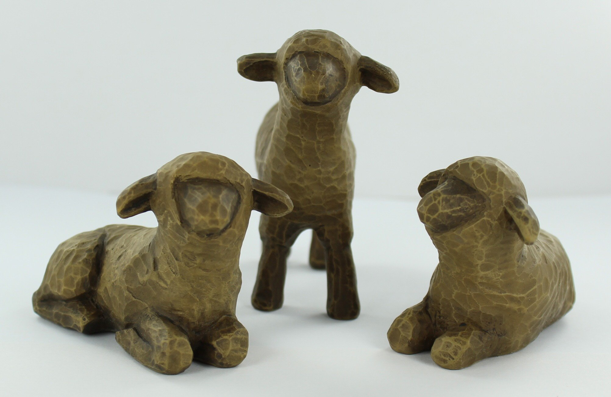 Three Black Sheep Willow Tree Nativity Figurines