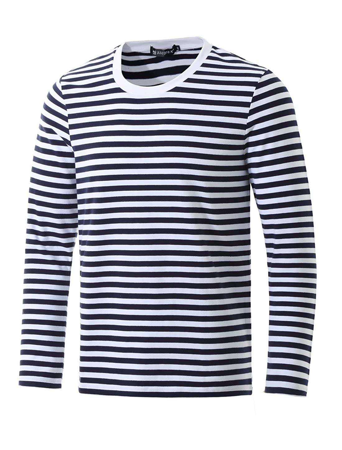 Men's Pirate Crew Neck Blue Striped Long Sleeves T-Shirt