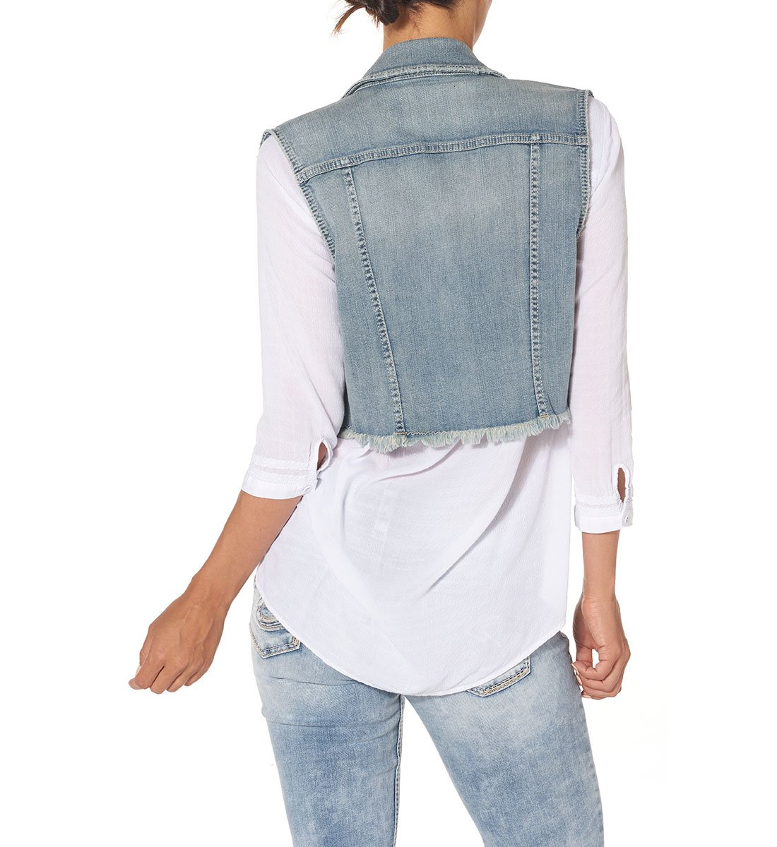 Silver Jeans Women's Cropped Denim Vest with Fray Hem, Indigo, L by Silver Jeans Co. (Image #2)
