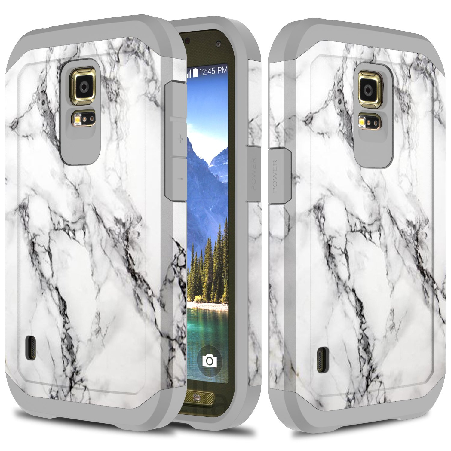 half off af1b2 924b9 Galaxy S5 Active Case, TownShop Marble Pattern Design Hard Impact Dual  Layer Shockproof Bumper Case for Samsung Galaxy S5 Active (G870A)