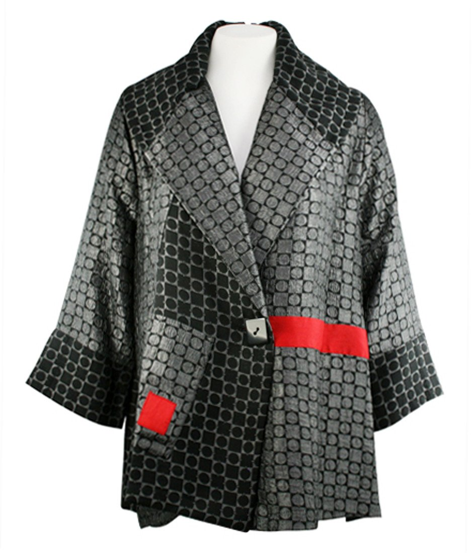 Moonlight - Contrast Squares Asian Style Jacket with Red Patchwork Accents by Moonlight