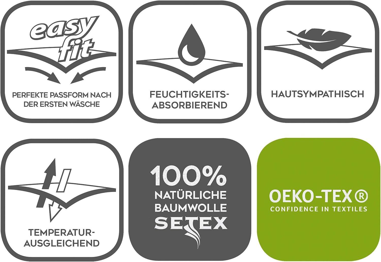 SETEX Kalmuck Matratzenschutz Classic 100 /% Baumwolle 2107070140001001 Rohwei/ß 70 x 140 cm Eckgummis