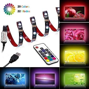 20 inch Waterproof Strip Lights,4pcs USB LED Multicolor RGB TV Backlight Kit