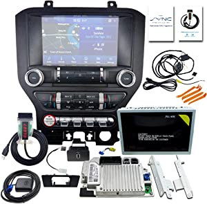 "4"" to 8"" Inch Capacitive Touchscreen Kit for Ford Mustang 2015-2020,SYNC 1 Upgrade SYNC 3,MyFord Touch (MFT) Support Carplay,Complete Monitor Set including A/C Control Panel Screen Frame -Black"