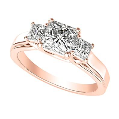 1 Carat 14K Rose Gold Princess Cut 3 Three Stone Diamond Engagement Ring  (J-K Color 75509e0e76be