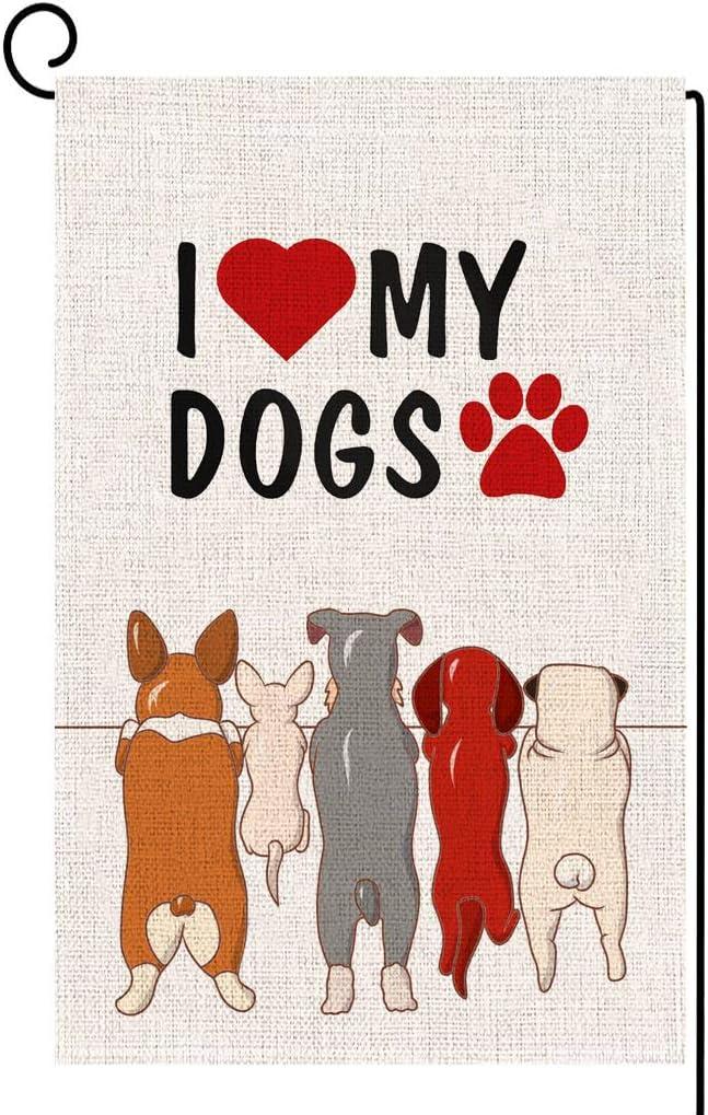 ORTIGIA Home Decor Small Dog Garden Flag,I Love My Dogs Pawprints Garden Flag Yard Decoration,Seasonal Outdoor Flag 12.5 x 18inch Spring Summer