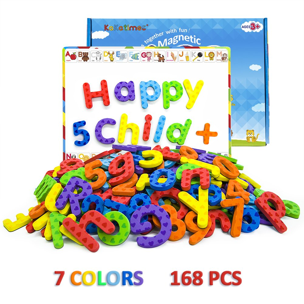 kakatimes 168pcs magnetic letters and numbers abc alphabet magnets for kids gift set dry erase magnetic board and free