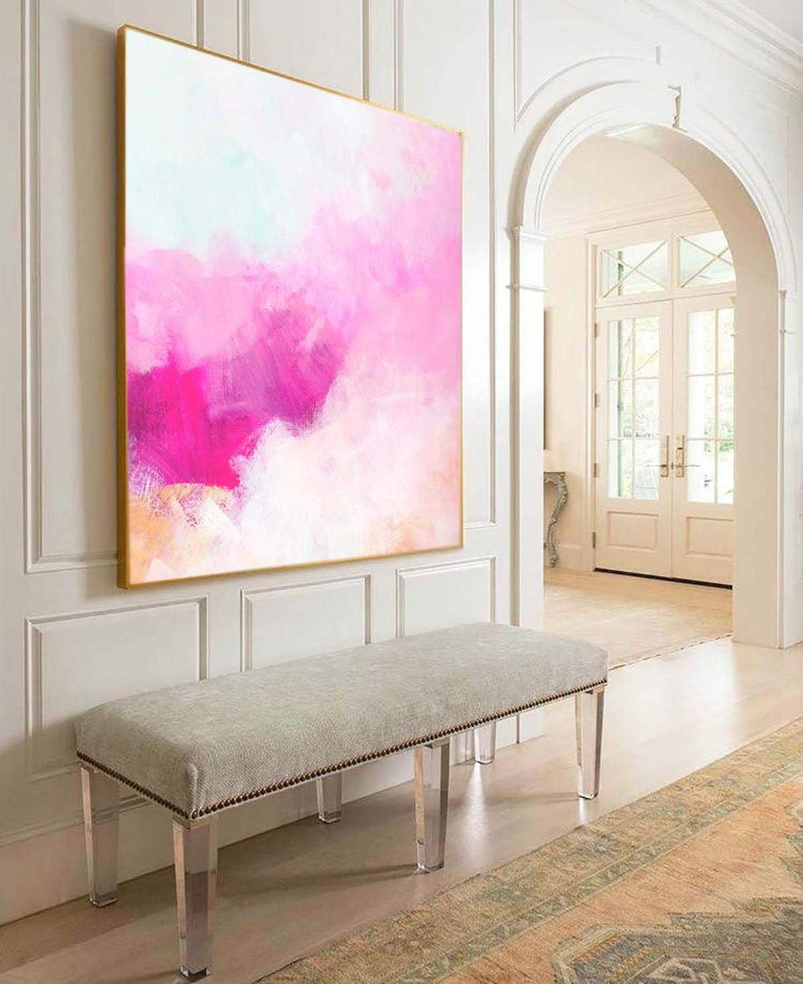 Amazon Com Creamcicle Pink Abstract Fine Art Print Soft White Painting Beautiful Large Wall Art Unique Interior Design Handmade