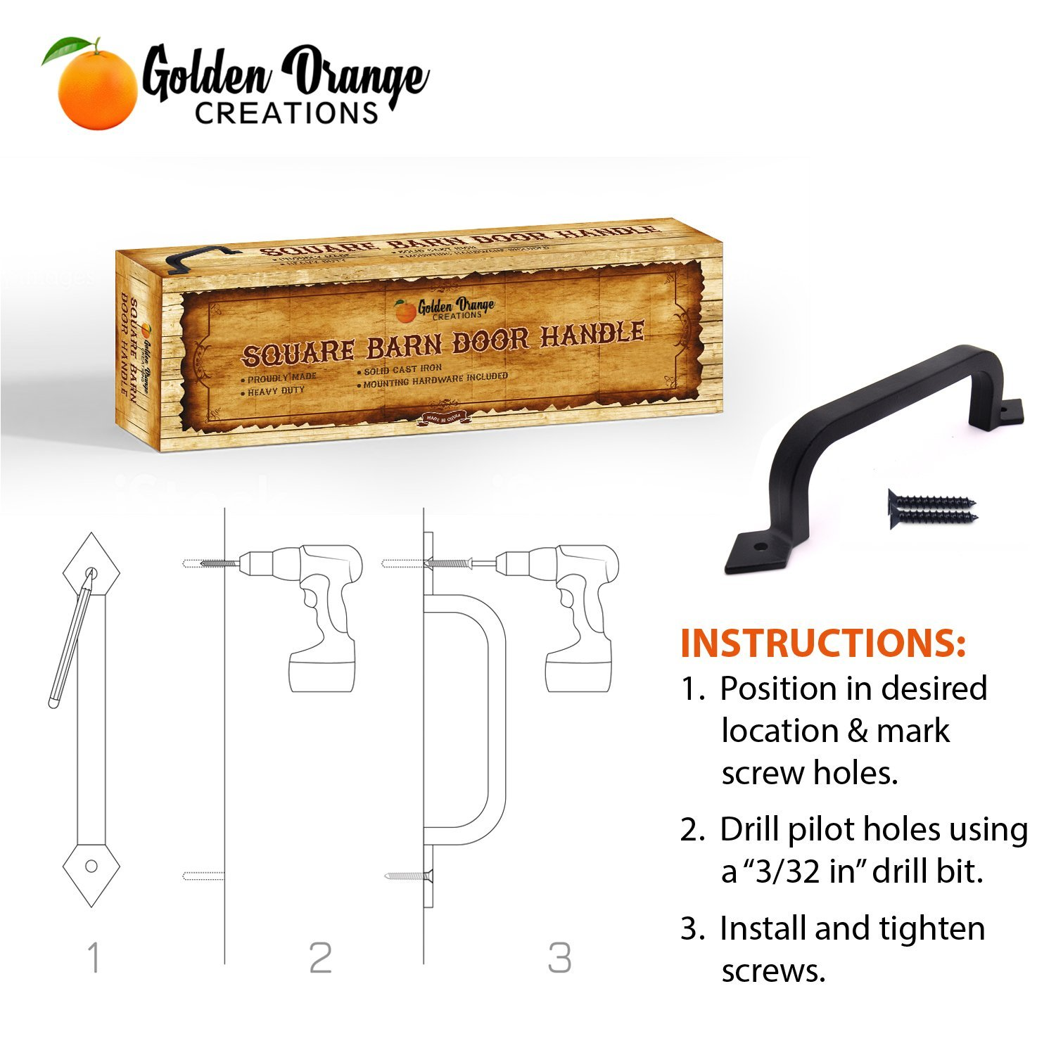 9-3/4'' Antique Barn Door Pull Handle with 2 Matching Black Screws - for Custom and Luxury Sliding Barn Doors, Pantry, Closet, Furniture, Garage, Gate, Shed - Solid Cast Iron Hardware Handle by Golden Orange Creations (Image #9)