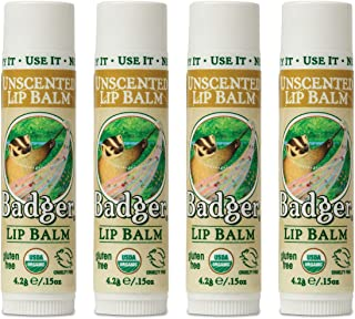 product image for Badger - Unscented Classic Lip Balm, Made with Organic Olive Oil, Beeswax & Rosemary, Natural Lip Balm, Certified Organic, Moisturizing Lip Balm, 0.15 oz (4 Pack)
