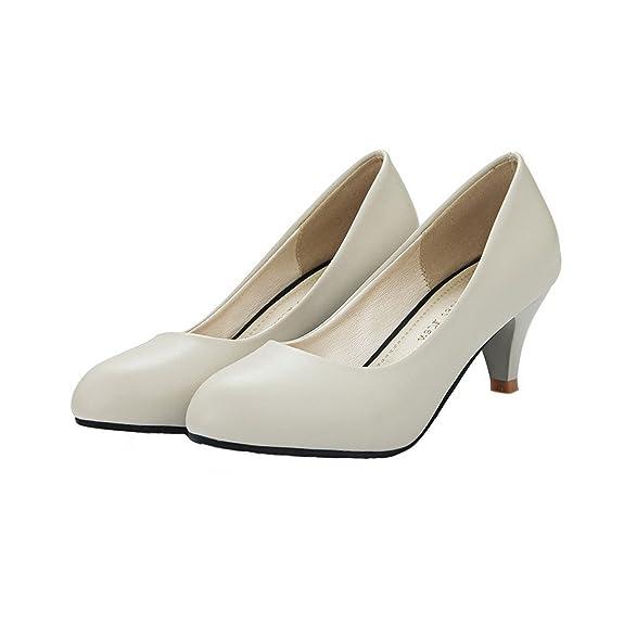 Pointue Ageemi Talon Chaussure Shoes Femme Cour De Escarpins Moyen xwR4Ux
