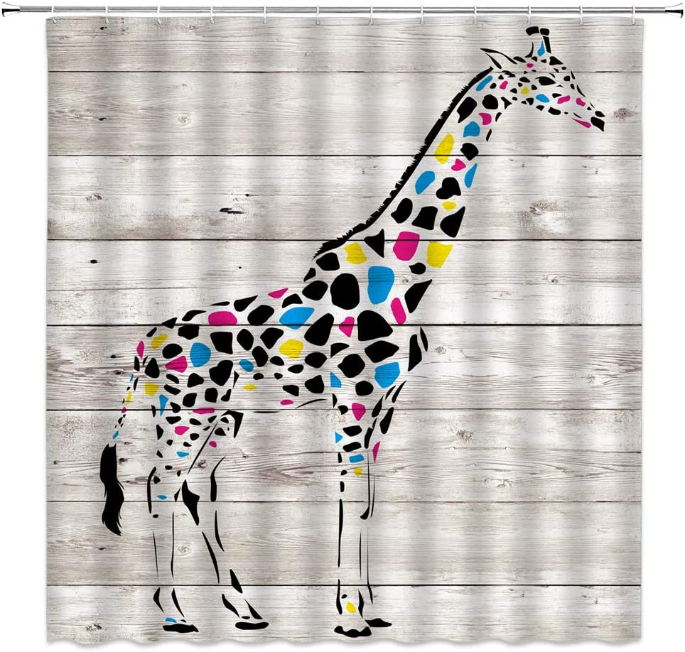 Abstract Giraffe Shower Curtain Rustic Wooden Board Barn Plank Farmhouse Watercolor Animal Wildlife African for Kids Fabric Bathroom Decor Set 70x70 Inch with Hooks,Gray Black