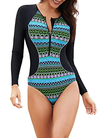 dc08011f5 ROSKIKI Womens Zipper Front Long Sleeves Vibrant Print High Waited Swimsuits  Color Block Rash Guard High