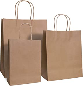 Yesland 75 Pcs Kraft Paper Bags, Brown Kraft Bags,Paper Shopping Bags & Party Bags with Handles, Great for Shopping, Gift Bags and Merchandise Bags Use
