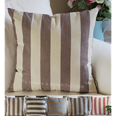 TangDepot Decorative Handmade Striped Cotton Throw Pillow Covers /Pillow Shams, Include 4 Colors /Designs and 4 Sizes, Black, Beige, Blue, Yellow, Brown, 12  x 18 , 18  x 18 , 22  x 22  and 26  x 26  - 26  x 26 , Brown, Beige
