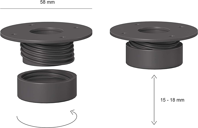 diam.58 mm Grigio scuro regolabili in altezza Iconico Home QBE Confezione 4 piedini in plastica