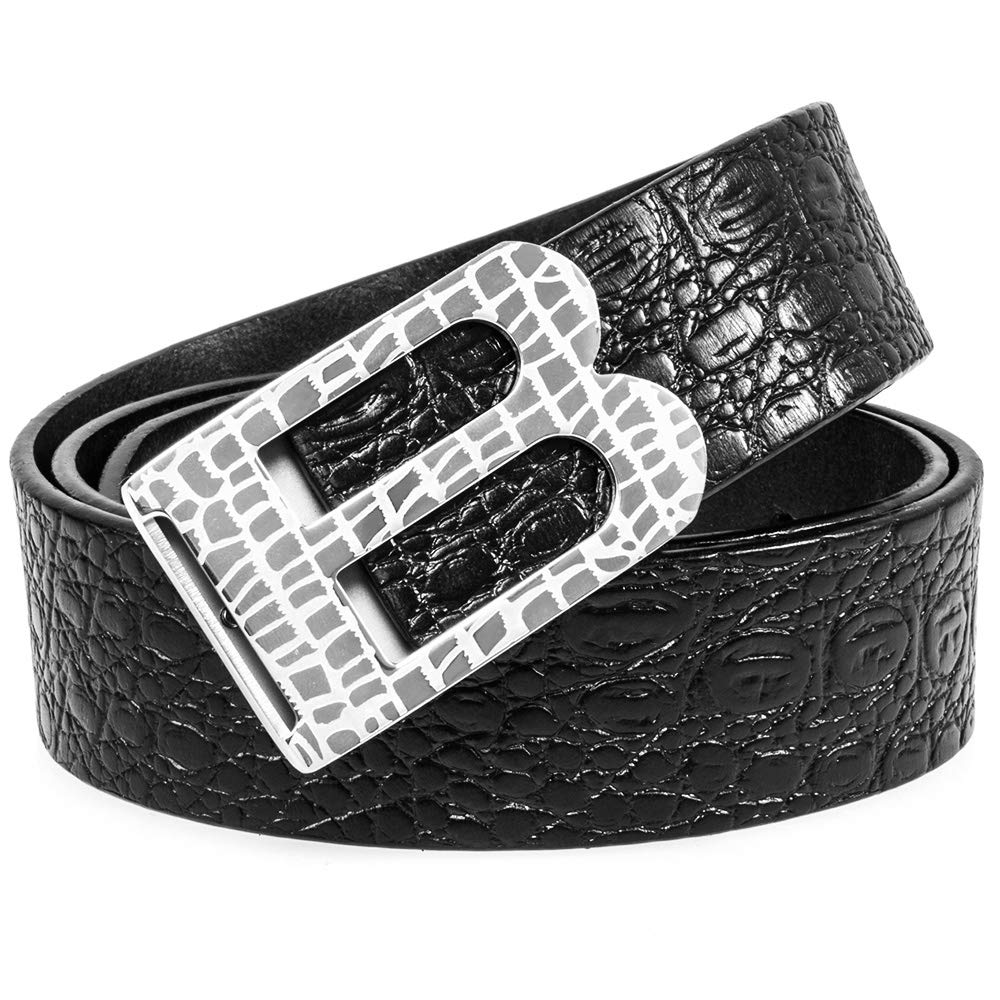 Martino Mens Brown Leather Belt Crocodile Textured Cowhide Belts for Men B Buckle With a Meticulous Workmanship Gift Box