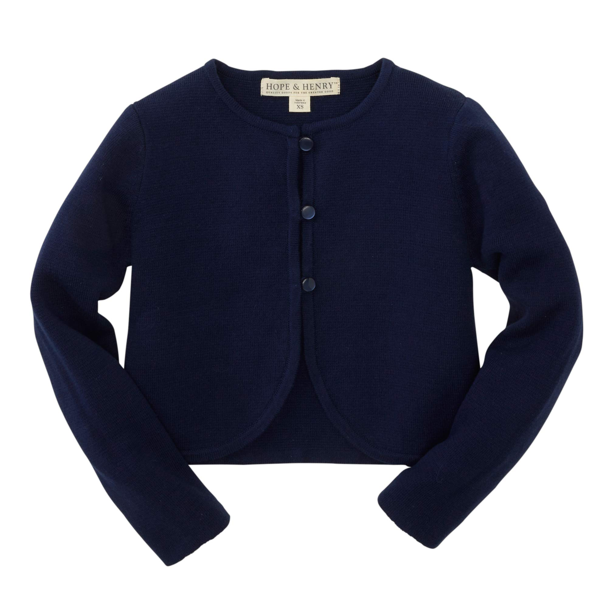Hope & Henry Girls Navy Cropped Cardigan by Hope & Henry