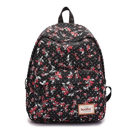 c06a3d087f3 EasyHui Womens Girls School Backpacks Cute Flower Printing Outdoor Travel Backpack  College Book Bag Casual Daypacks