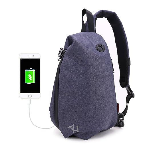 1416502f5427 AH ARCTIC HUNTER Mens Waterproof Sling Backpack One Shoulder Bag Purse with  Audio Jack