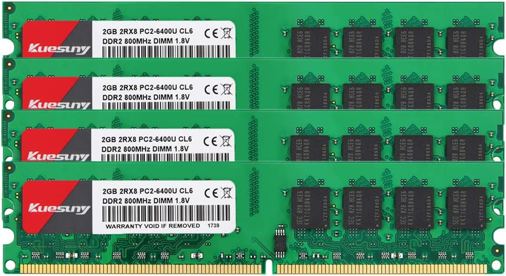 Kuesuny 8GB Kit (2GBX4) DDR2 800 Udimm RAM, PC2-6400/PC2-6400U 1.8V CL6 240 Pin Non-ECC Unbuffered Desktop Memory Modules