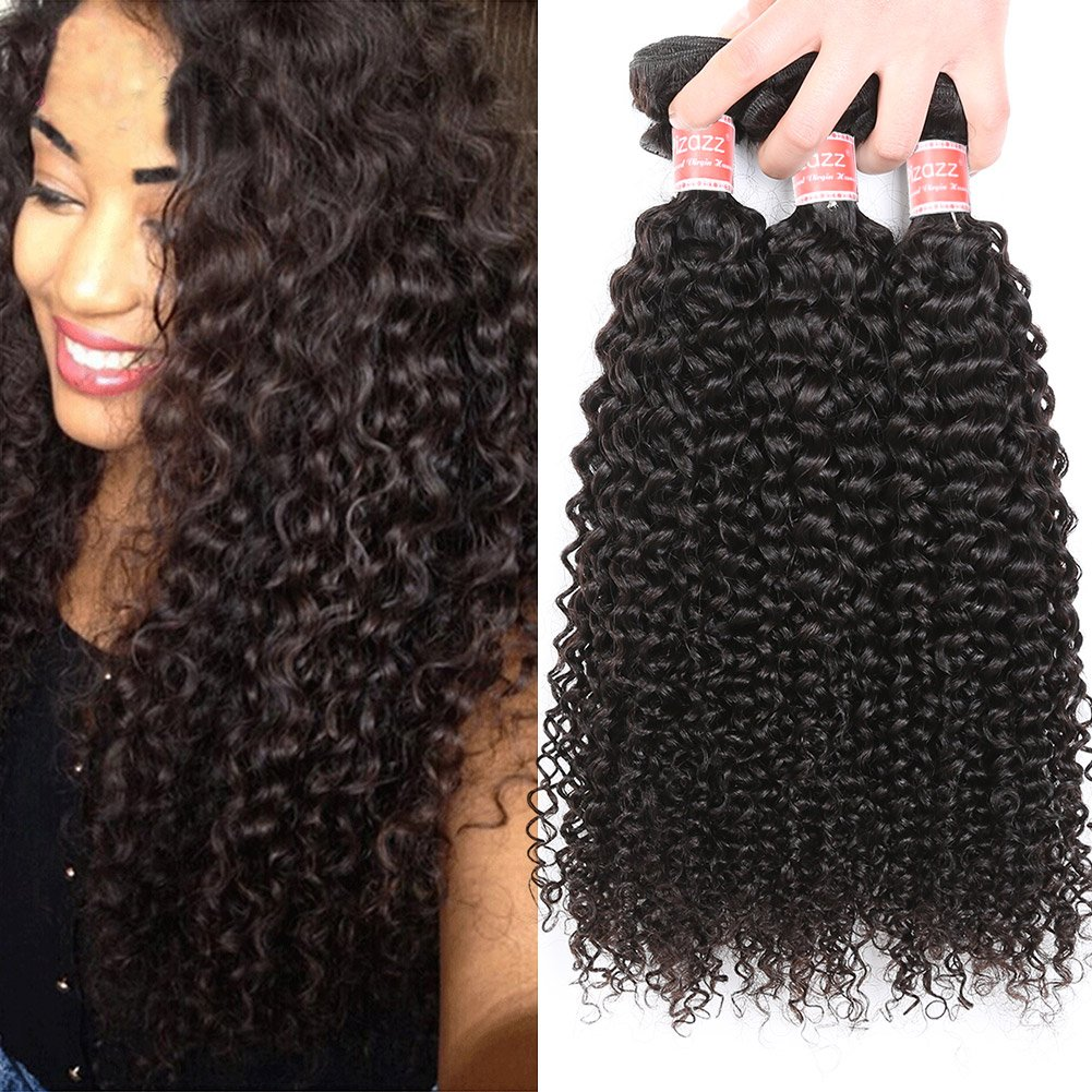 Pizazz Hair Brazilian Curly Hair Weave 3 Bundles 10A Grade Virgin Kinky Curly Human Hair Weave 100% Unprocessed Hair Weft Extensions Natural Color (10 12 14) by Pizazz