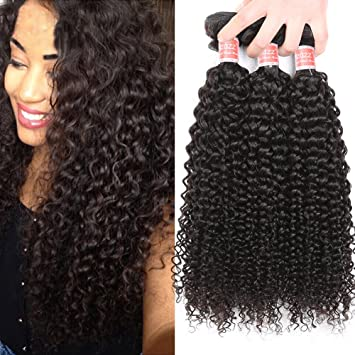 Pizazz Burmese Curly Hair 3 Bundles 100 Unprocessed Human Hair Weave Natural Black Color 3pcs 10