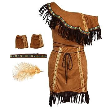 Baoblaze Indio Traje de India Mujeres Nativo Americano Cosplay de Máscara Inspiración Tribal Accesorio de Fiesta - M: Amazon.es: Juguetes y juegos